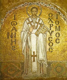 εικ.: Απεικόνιση του Αγίου Ιωάννη του Χρυσοστόμου σε μωσαϊκό της Αγίας Σοφίας Κπολης (ψηφιδωτό)