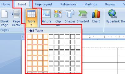 Cara membuat tabel microsoft word 2007