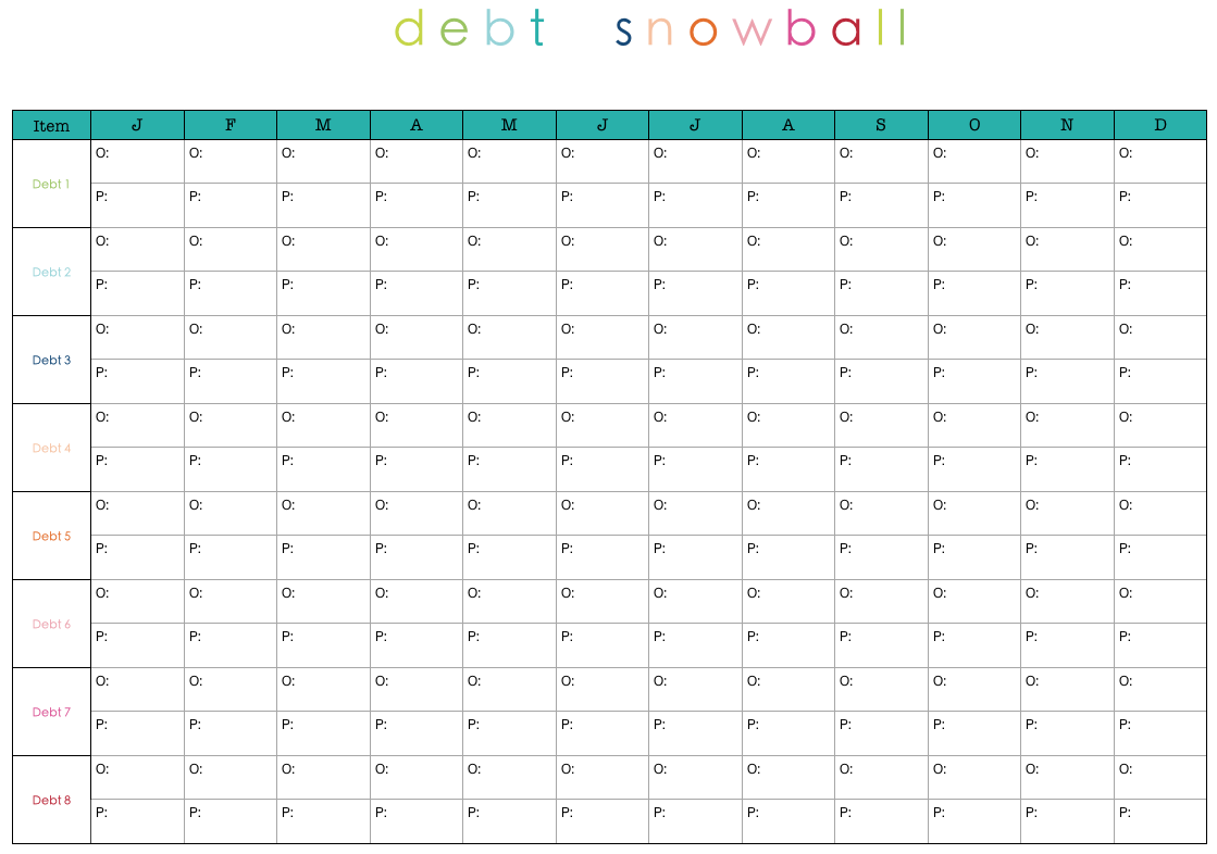This is a photo of Free Printable Debt Snowball Worksheet in chapter 4