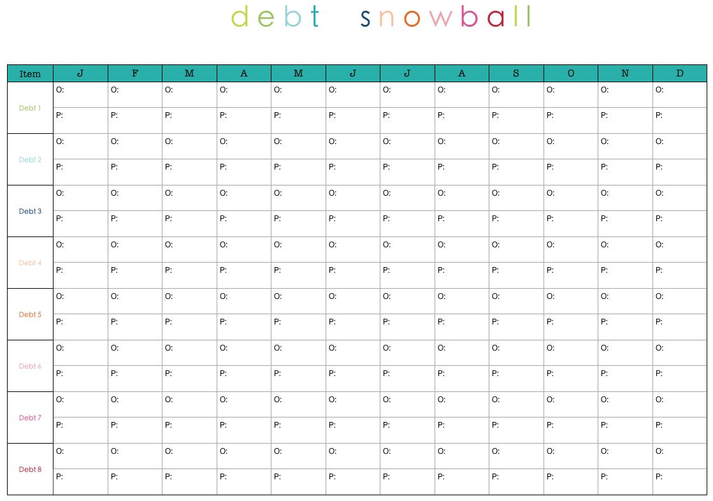 Debt Snowb Ll W Ksheet Free W Ksheets Libr Ry Downlo D Nd