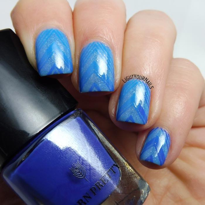 Nail art stamping blu viola termica thermal blue purple Bornprettystore