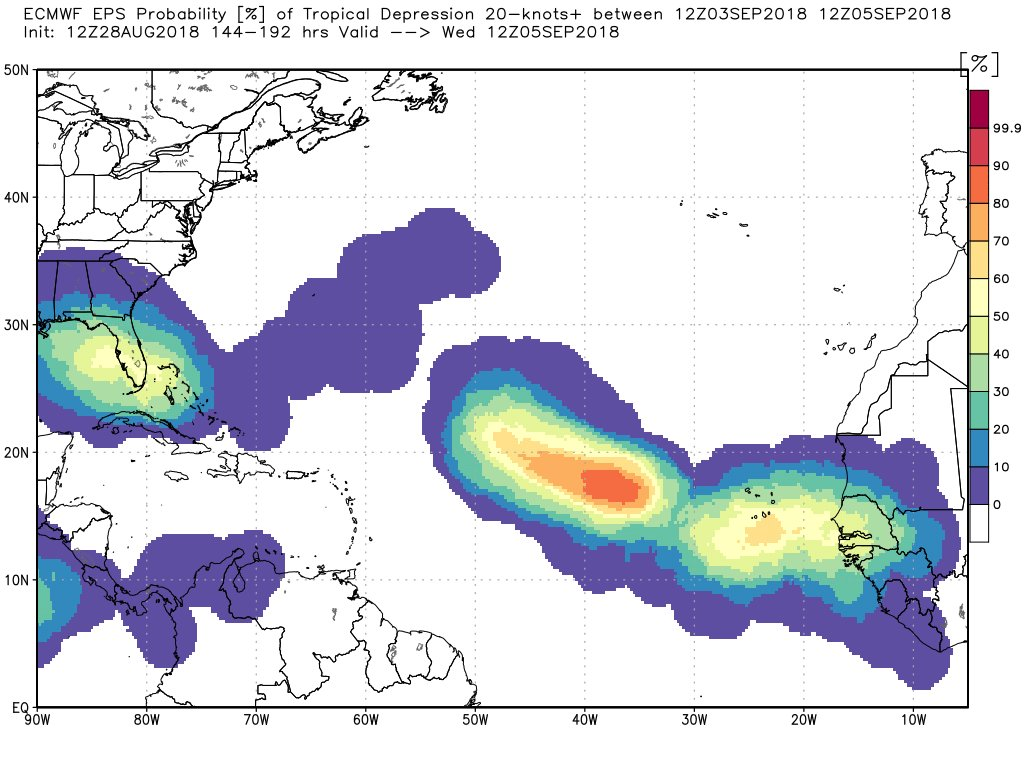 this map issued tuesday shows where there are chances of tropical storm development between now and september 5 blue areas are the lowest chances