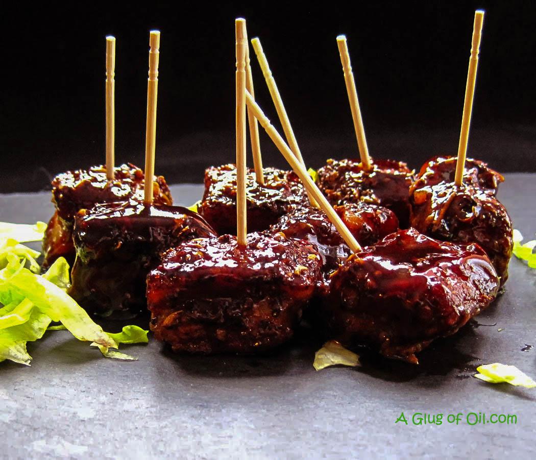 Szechuan Pork Belly Bites with a BBQ Glaze