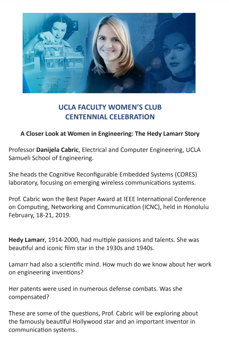 hight resolution of professor danijela cabric of the electrical and computer engineering department at ucla will illuminate on lamarr s passion for scientific discovery in