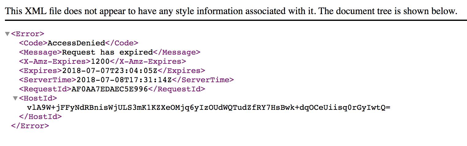 expired presigned URL