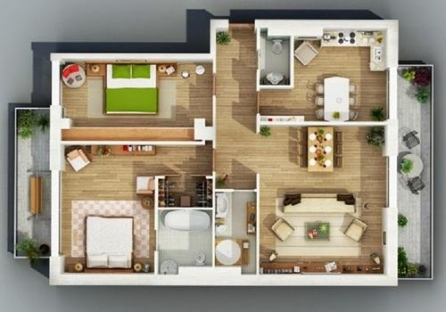 Gambar 3D Desain Interior Rumah type 36