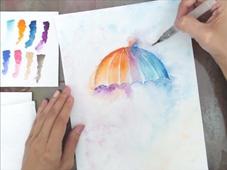 Pintando com Aquarela: Guarda-Chuva