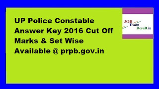 UP Police Constable Answer Key 2016 Cut Off Marks & Set Wise Available @ prpb.gov.in
