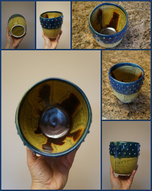 Textured stoneware pot, by Lily L.