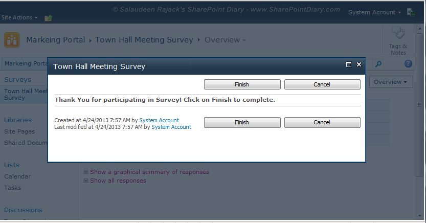 sharepoint 2010 survey thank you message