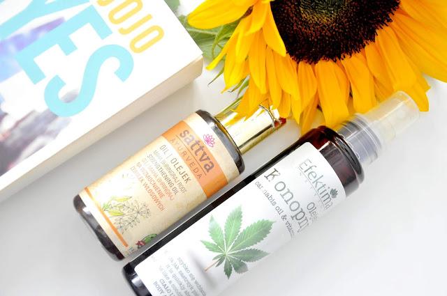 olejek konopny do ciała i włosów efektima, ajurwedyjski olejek do włosów sattva