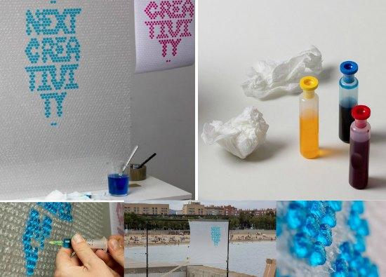 Inyectar agua coloreada a las burbujas de plastico