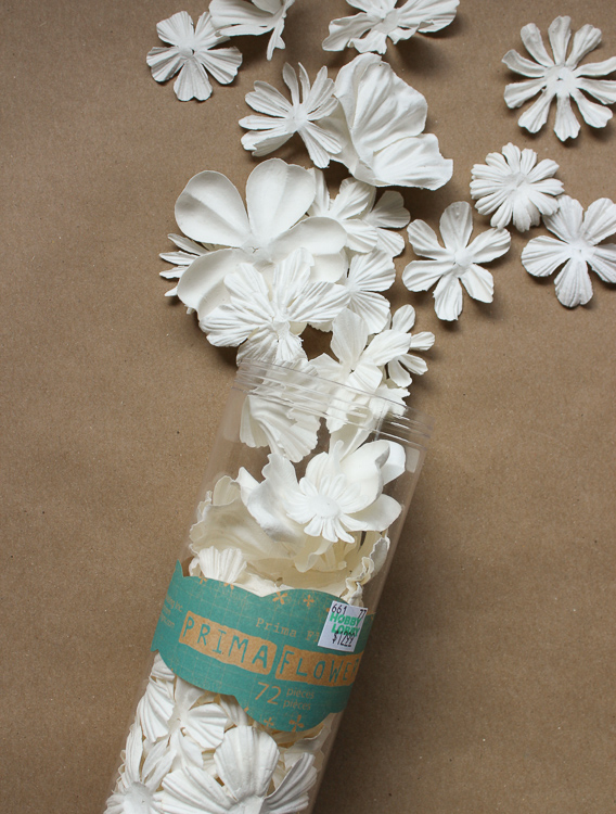 Store-bought Prima paper flowers are used to decorate a fall banner