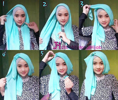 Tutorial Hijab Turban Segi Empat Simple Glamour Terbaru