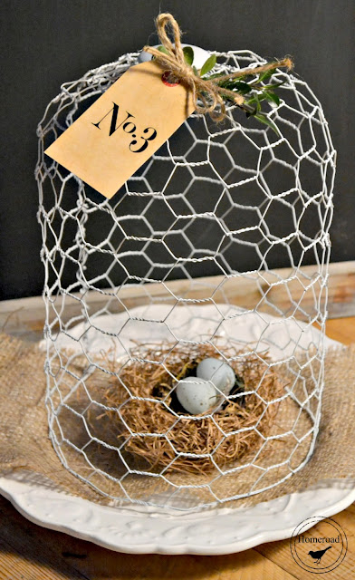 DIY chicken wire cloche with nest