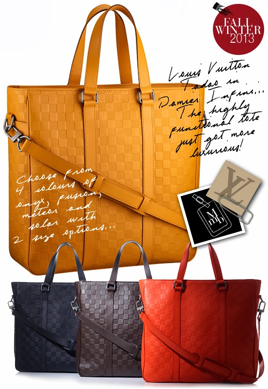 204240f5161265 Below: Louis Vuitton's highly popular and functional Tadao Tote now comes  in Damier Infini leather... Choose from 2 sizes and 4 brilliant colours.