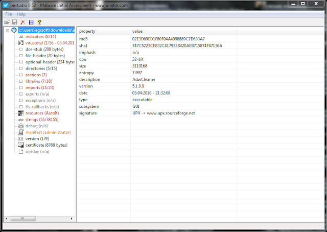 PeStudio 8.67 | Herramienta para evaluar malware en archivos ejecutables | Portable