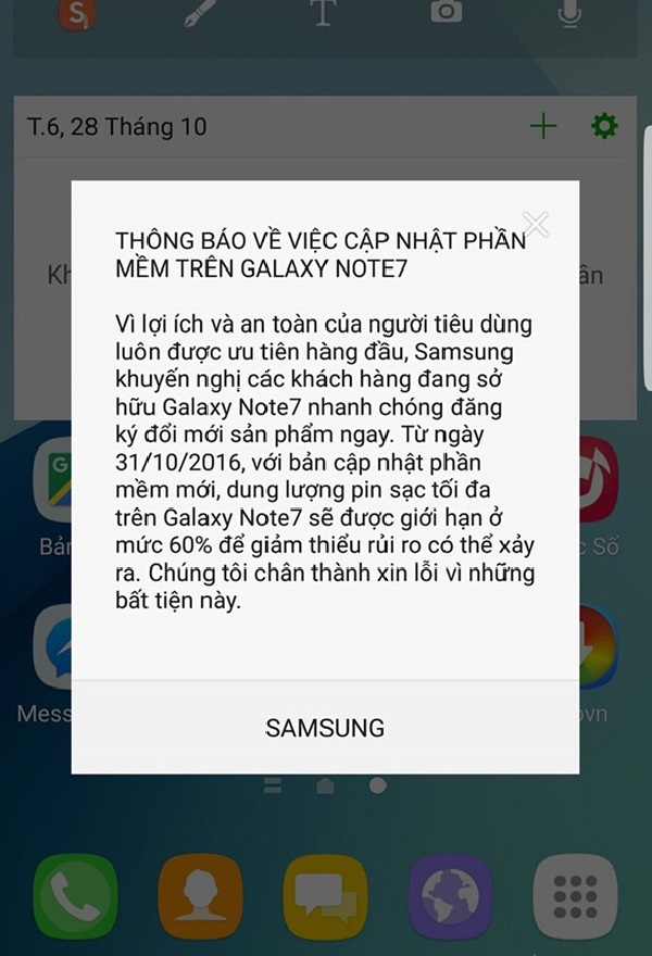 Galaxy Note 7 bản cập nhật mới với mức sạc 60%