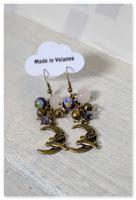 boucles d'oreilles violette et bronze lapin et lune