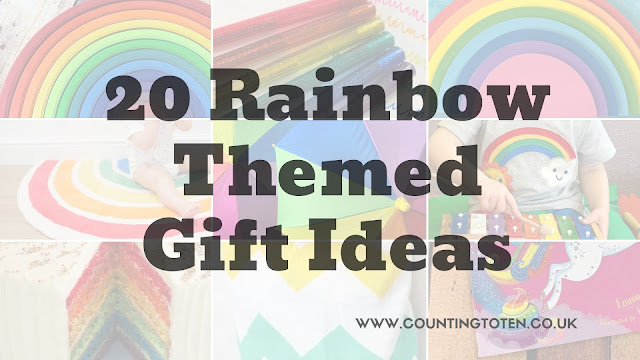 "A title text box saying ""20 Rainbow Themed Gift Ideas"" with images of rainbow gifts faded in the background"