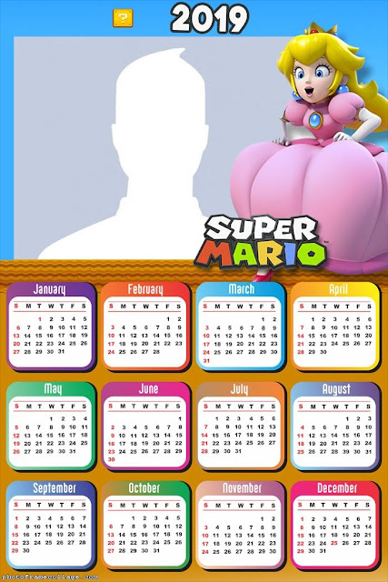 Free Printable Super Mario Bros 2019 Calendar.