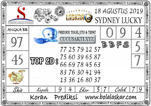 Prediksi Togel Sydney Lucky Today LASKAR4D 18 AGUSTUS 2019