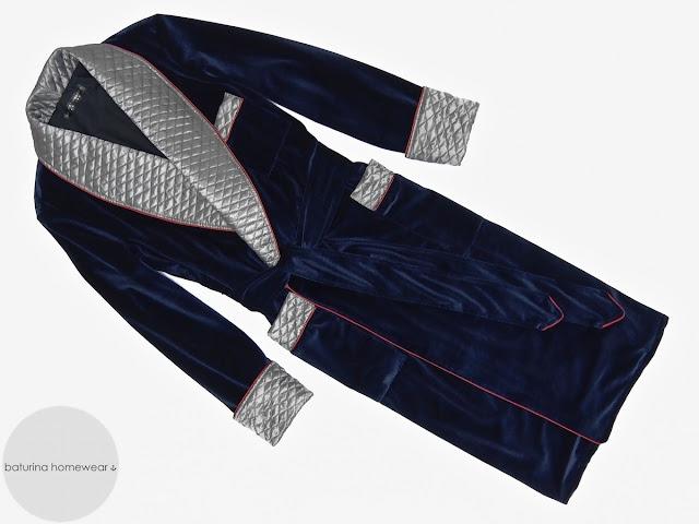 Men's velvet dressing gown quilted smoking jacket morning robe