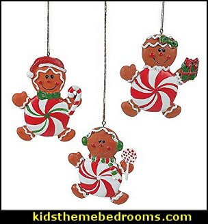 Peppermint Gingerbread Man Ornaments  candy Christmas theme decorating - candy themed christmas decorations - christmas candyland decorations -  candy ornaments -  candy shaped holiday ornaments - candy themed Christmas decor -   lollipop candy swirls Throw Pillows - Candy Christmas Tree  - candy stripe Chritmas decor - Candy Cupcake Ornaments