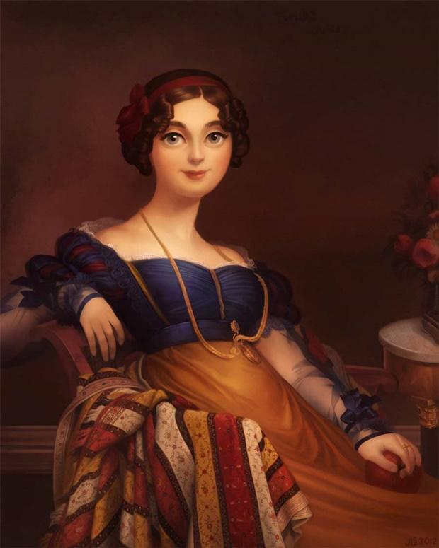 Princesas Disney em pinturas clássicas, Jessica Oyhenart, Disney, Ingres, Branca de Neve, Snow White princess