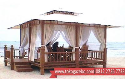 Gazebo Kayu Jati Modern Pantai