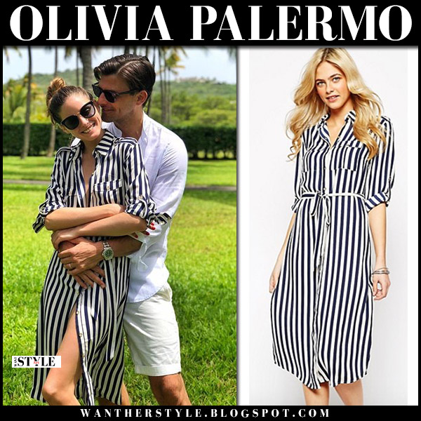 Olivia Palermo in striped button up belted midi shirt dress oasis with johannes at mustique island summer fashion august 5
