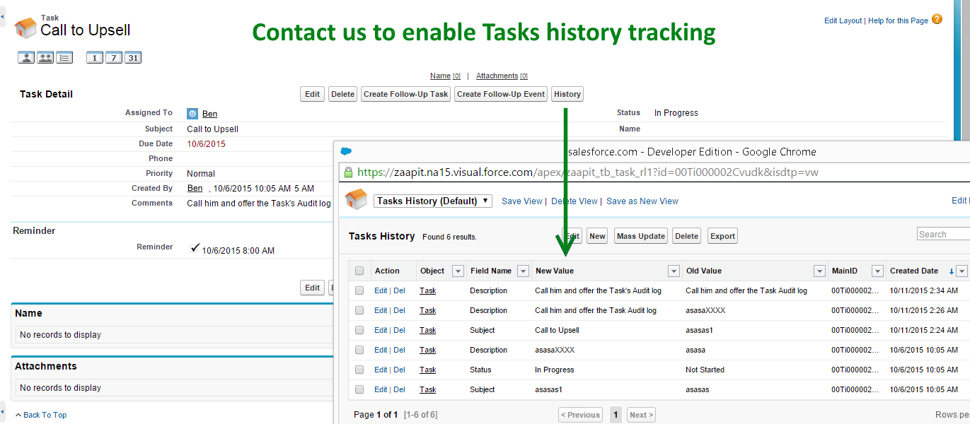 task history tracking
