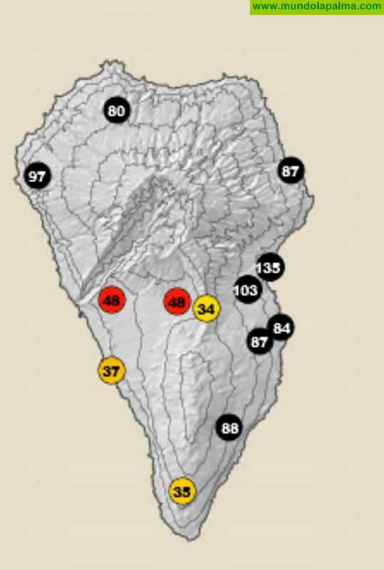 Rachas máximas de viento registradas por municipios.