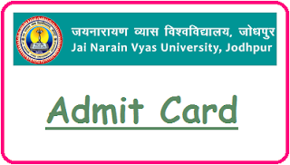 JNVU Jodhpur Admit Card 2019