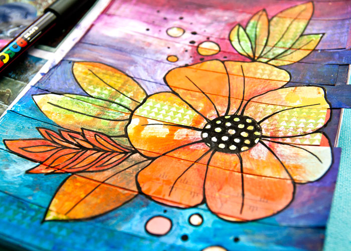 Close-up of the Mixed Media Flower drawing art journal page. Video by Kim Dellow