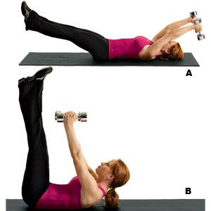 arm pullover straight leg crunches