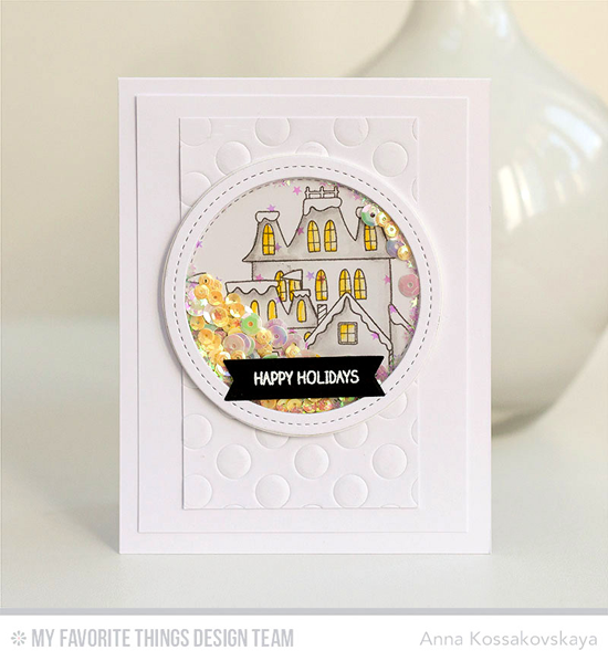 Handmade card from Anna Kossakovskaya featuring Winter Wonderland stamp set, Peek-a-Boo Polka Dots and Single Stitch Line Circle Frames Die-namics #mftstamps