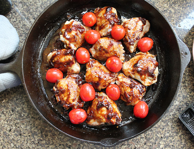 Food Lust People Love: This sticky coffee chicken has a lot going on, from the fresh brewed coffee and the balsamic vinegar to the thick honey and the ripe tomatoes. You don't really taste a definite coffee flavor but it does add a wonderful smokiness that enriches the sauce.