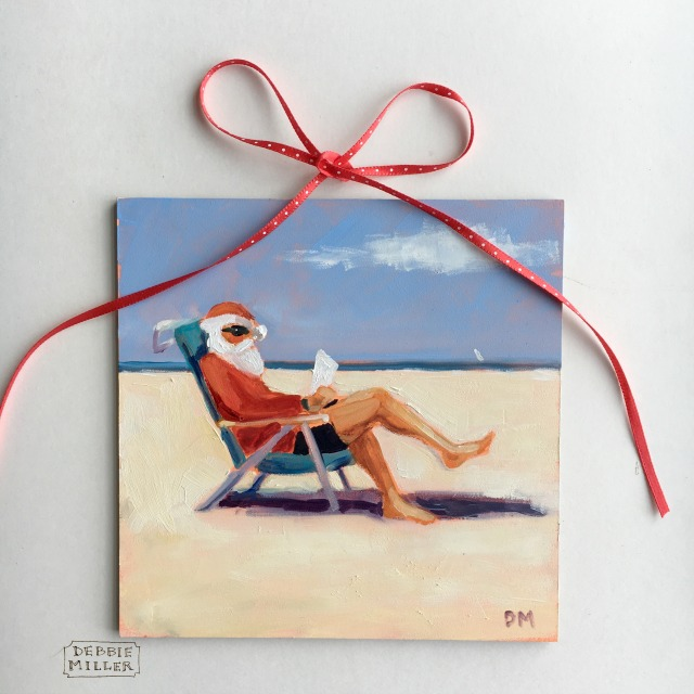 painting of Santa Claus at the beach reading, beach painting of Santa, red ribbon