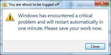 "Cách sửa lỗi ""windows has encountered a critical problem and will restart automatically in one minute"" trên máy tính"