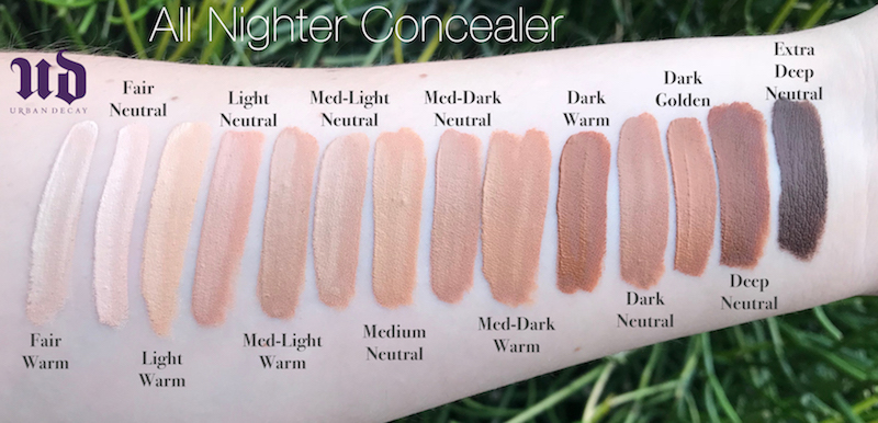 Urban Decay All Nighter Swatches