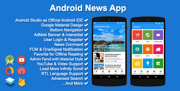 ANDROID NEWS APP V3 1 0 Source Code & Web Admin Free