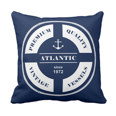 Blue and White Nautical Pillow with Rescue Ringe Badge