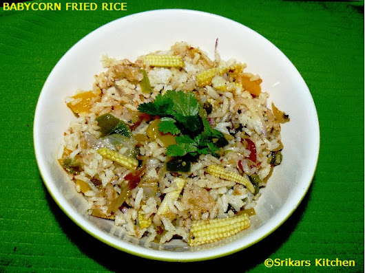 BABY CORN FRIED RICE- BABY CORN CAPSICUM RICE- LUNCH BOX IDEAS