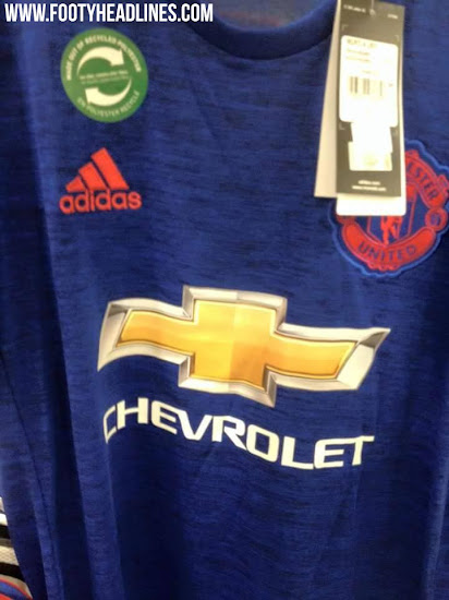 ... the Manchester United 2016-17 away kit combines a blue base with a  cotton-like design effect and red accents, most notably the Adidas stripes  on the ...