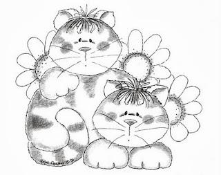 risco para pintar gatos e girassois