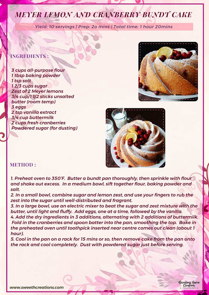MEYER LEMON AND CRANBERRY BUNDT CAKE RECIPE