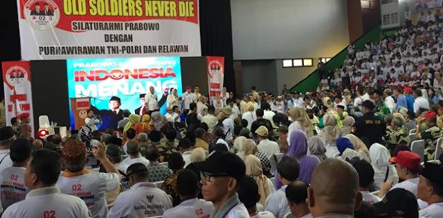 Datang Bersafari Coklat, Prabowo Dielu-elukan Purnawirawan TNI Polri