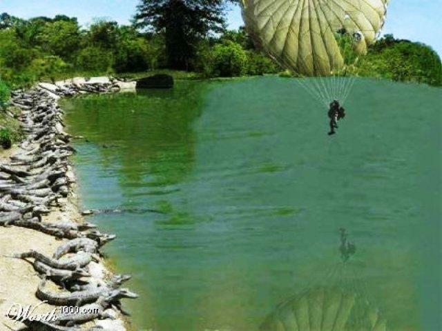 paracaidista en lago lleno de cocodrilos
