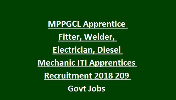 MPPGCL Apprentice Fitter, Welder, Electrician, Diesel